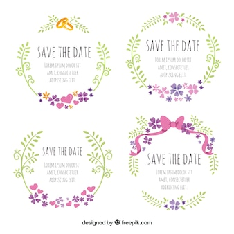 Lovely wedding labels with rings and bow