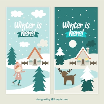 Lovely winter is here banners pack