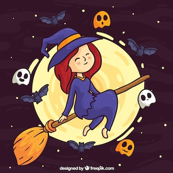 Lovely witch with hand drawn style