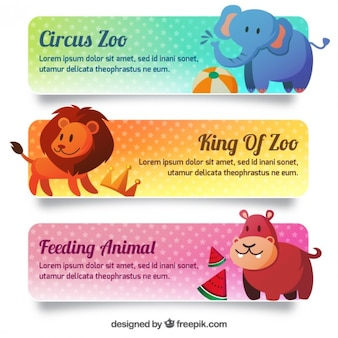 Lovely zoo banners set