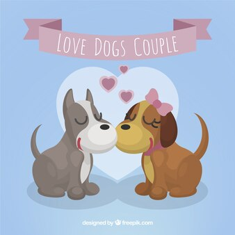 Loving puppy couple