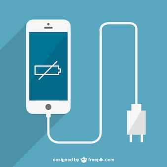 Low batter smartphone charging vector