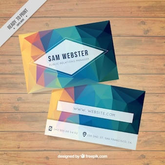 Low poly business card in green tones