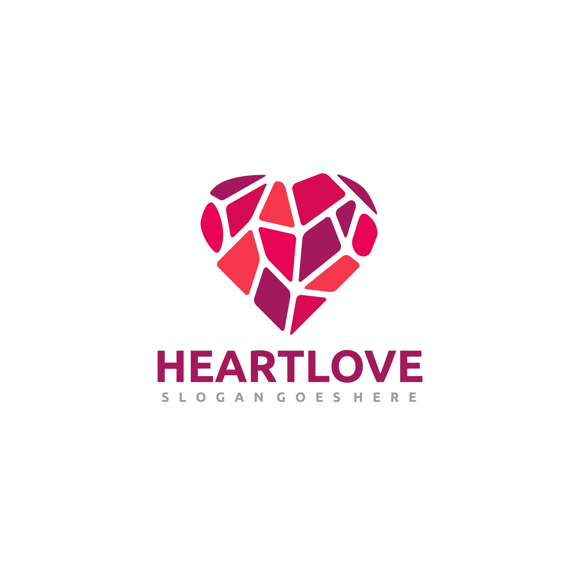 Low poly heart logo