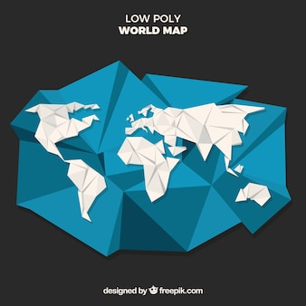 Low poly world map with black background