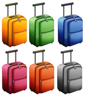 Luggages in six colors illustration