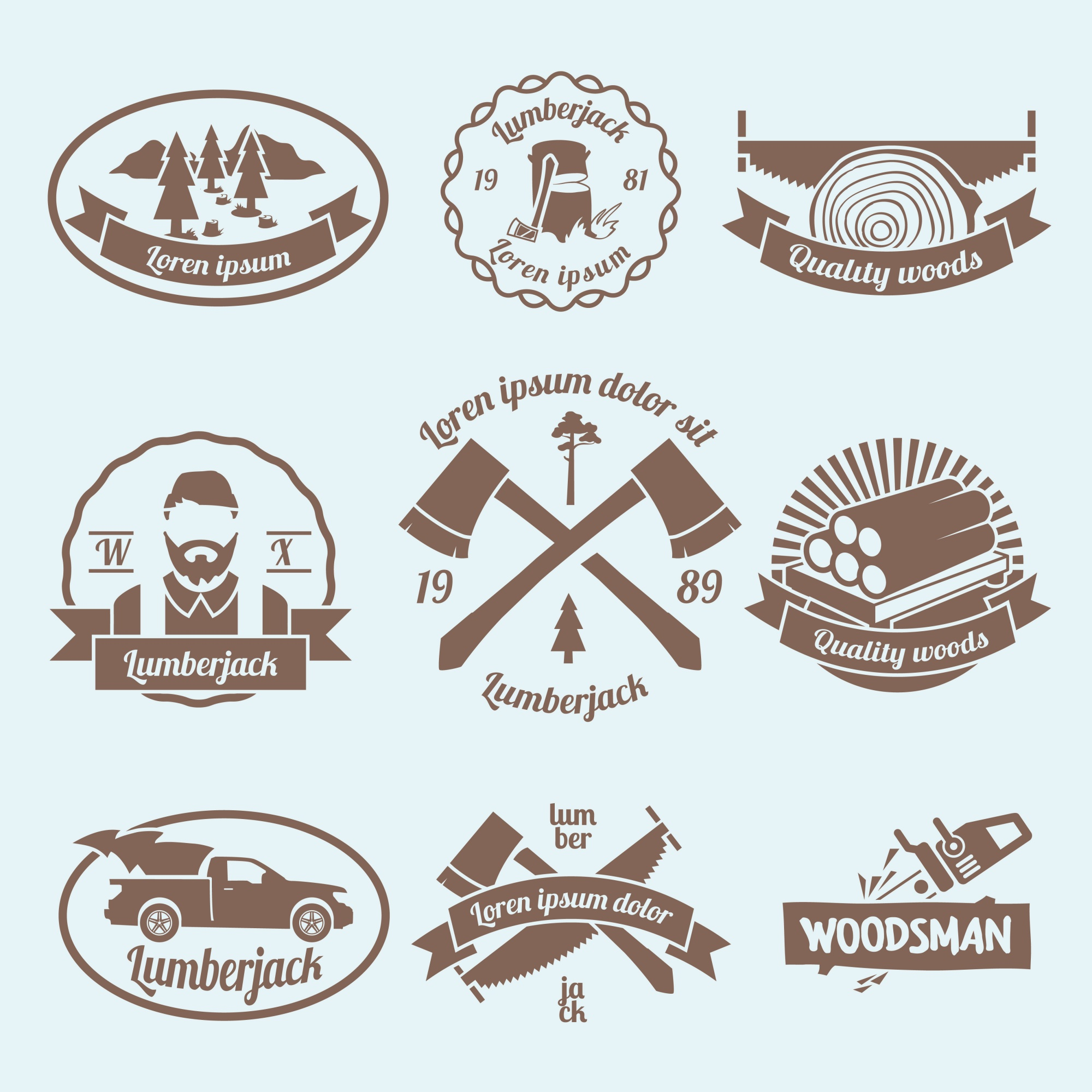Lumberjack woodcutter labels set with carpentry tools and materials isolated vector illustration