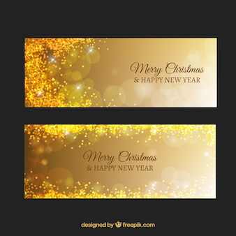 Luxurious banners with confetti and bokeh effect