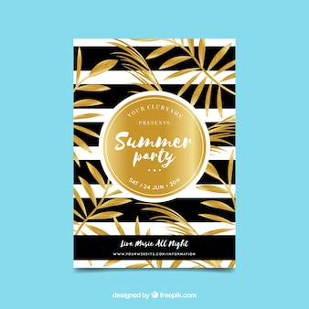Luxurious golden summer party invitation