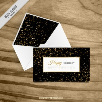 Luxurious greeting card with golden confetti