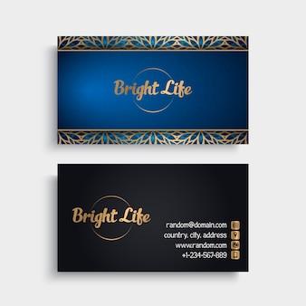 Luxury blue and black mandala visiting card