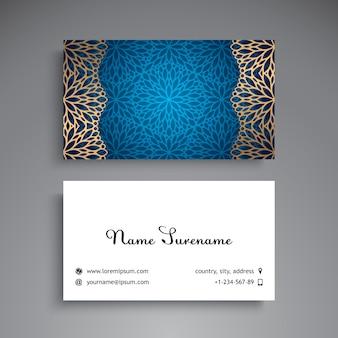 Luxury blue business card with mandala decoration
