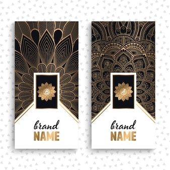 Luxury business cards with floral mandalas