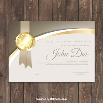 Luxury certificate with golden details