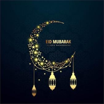 Luxury eid mubarak background with moon and lanterns