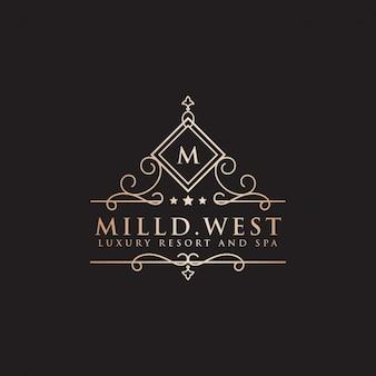 Luxury hotel label letter m