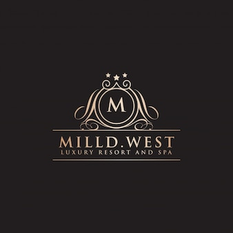 Luxury hotel label letter m