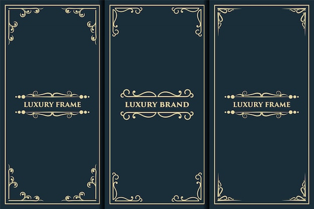 Luxury logo frame with gold packaging label suitable for luxury royal packaging of product box