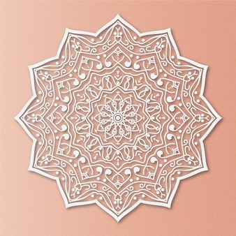 Luxury mandala on salmon background