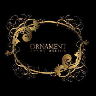 Luxury ornament frame with gold color