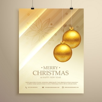 Luxury poster with golden christmas balls