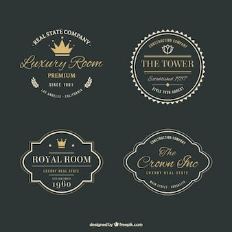 Luxury real estate logos with golden details in vintage style
