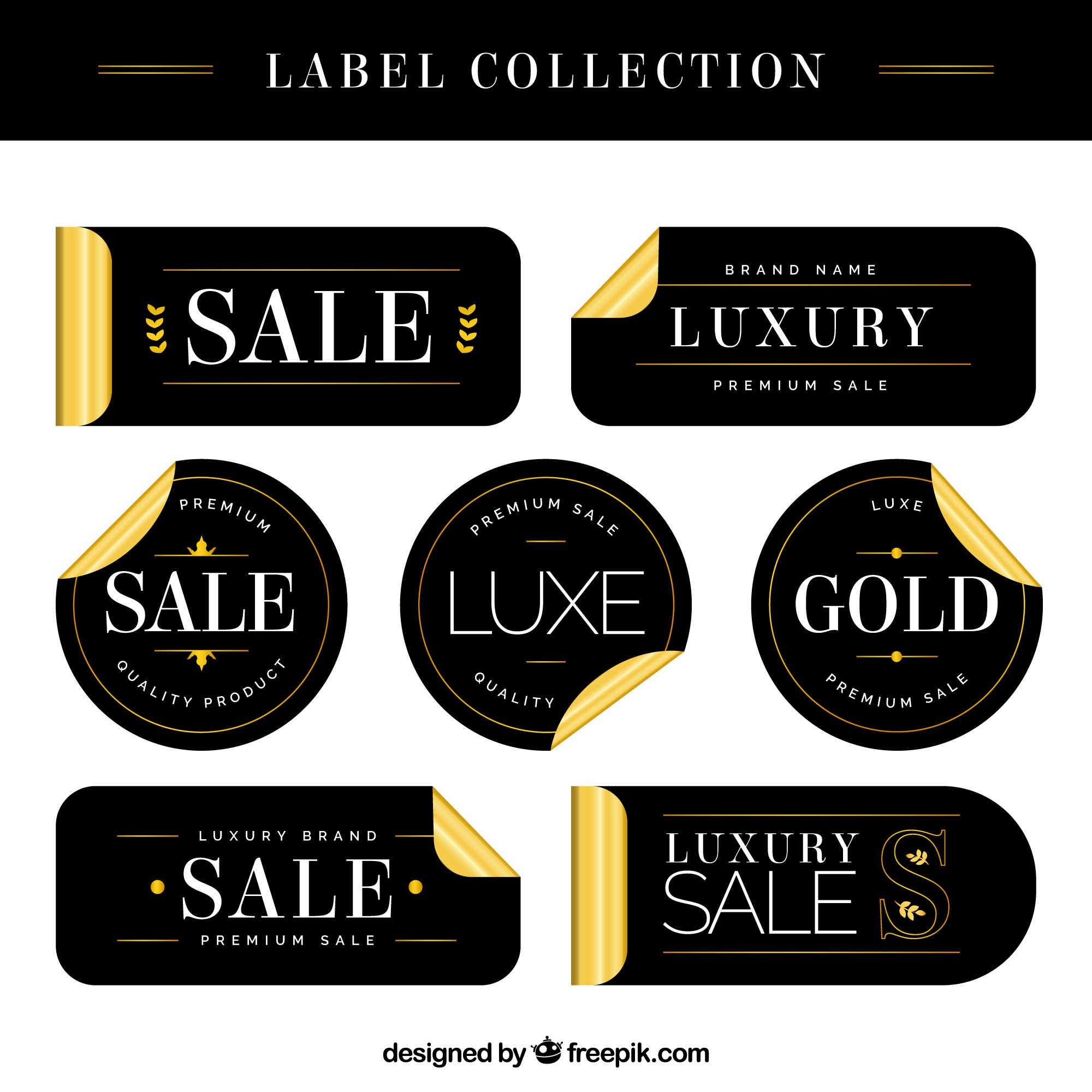 Luxury sale labels with golden details