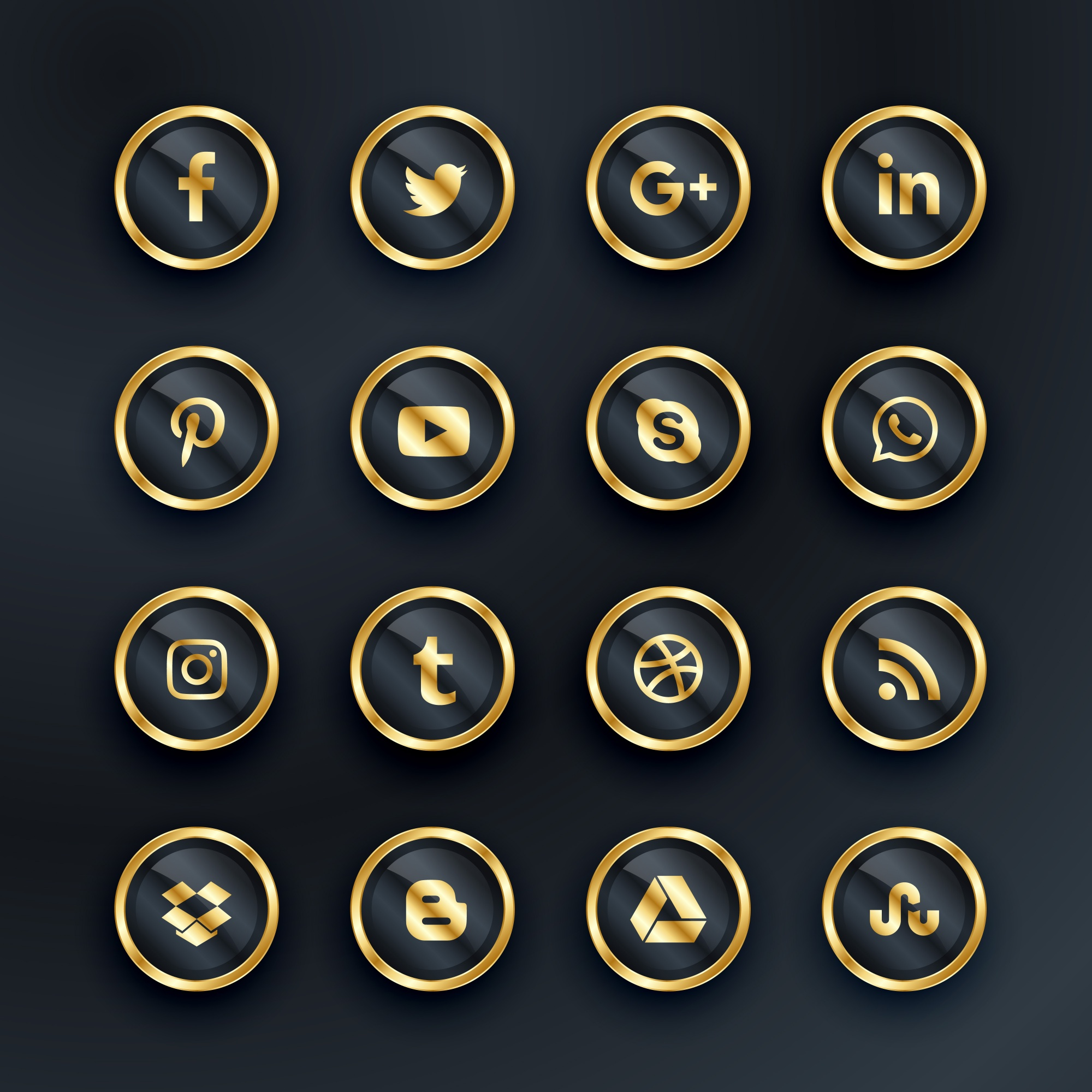 Luxury style social media icons