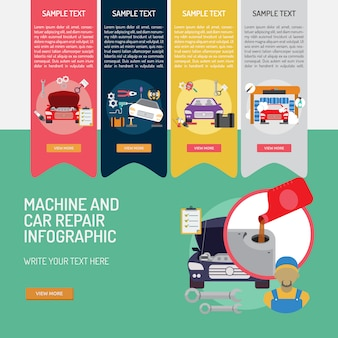 Machine and car repair infographic design