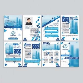 Magazine pages with blue details