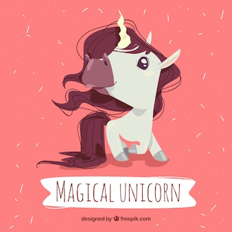 Magical unicorn with hand drawn style