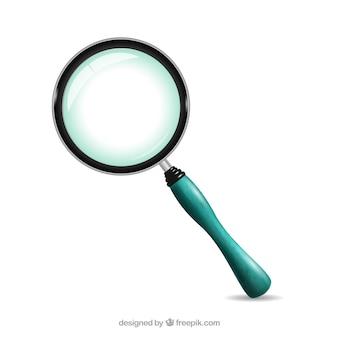 青いハンドル付き虫眼鏡