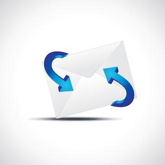矢印付きのベクトルメールアイコン