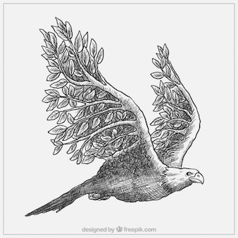 Majestic hand drawn eagle with branches