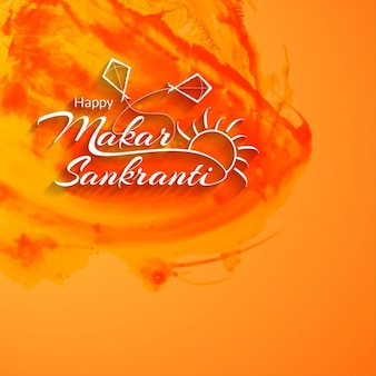 Makar sankranti, background with watercolors
