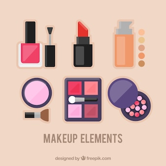 Makeup elements in flat design