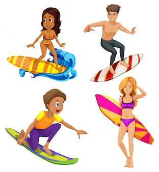 Male and female surfers