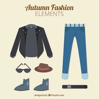 Male autumn clothes in style flat