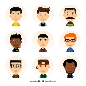 Male avatars with variety of styles