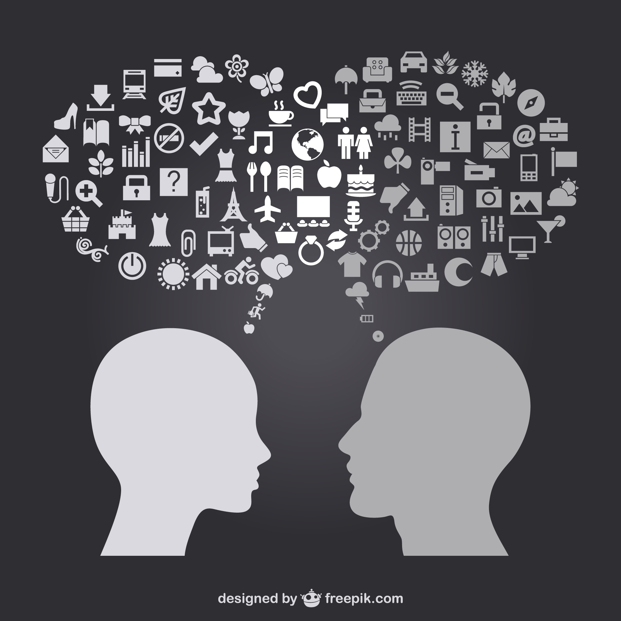 Man and women head thinking in daily life icons
