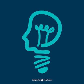 Man head forming a bulb