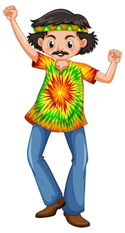 Man in hippie clothes