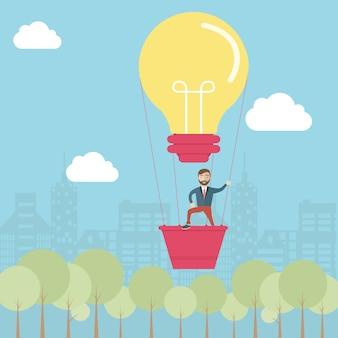Man on light bulb balloon