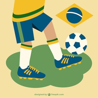 Man playing soccer with brazilian colors