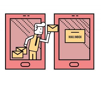 スマートフォンからメールを送る人。フラットラインベクトルイラスト