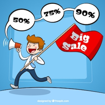 Man with a megaphone announcing big sale