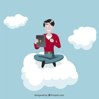 Man with tablet on cloud