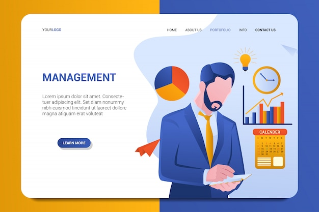 Management landing page background vector template