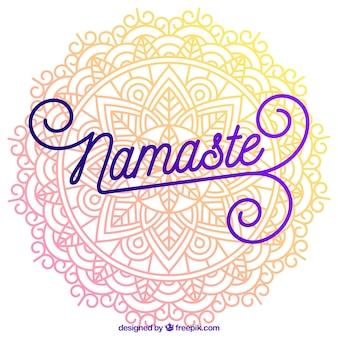 Mandala background with beautiful namaste