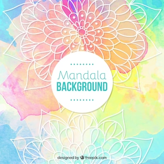 Mandala background with watercolors stains